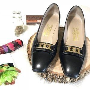 Black leather Salvatore Ferragamo Loafer Heel